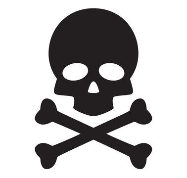 skull and crossbones icon on white background. flat style. skull design icon for your web site design, logo, app, UI. danger symbol. poison sign.
