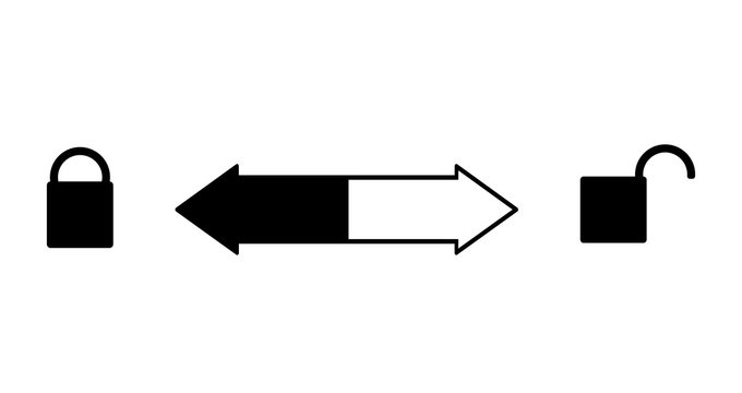 To open or close you need to turn right or left. The lock is open on the right and closed - on the left. Arrow back and forth in the middle. Vector sign silhouette