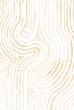 Lighnt brown abstract stripes watercolor Horizontal Background. Inspired by tribal body paint. Raster banner template.