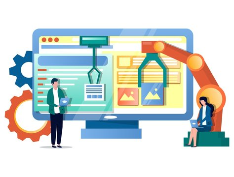 IT process automation vector concept for web banner, website page