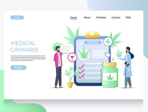 Medical cannabis vector website landing page design template