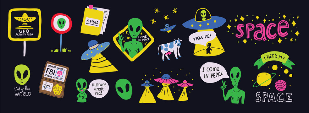 Set on a space theme with humorous ufo signs