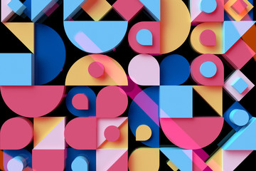 Abstract geometric dark background 3D illustration. Modern colorful pattern.