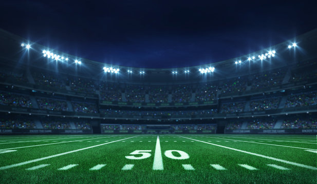 American football league stadium with white lines and fans, illuminated field side view at night, sport building 3D professional background illustration