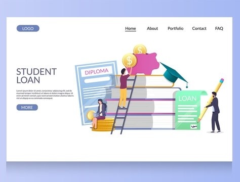 Student loan vector website landing page design template