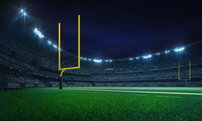 American football league stadium with yellow goalposts and fans, illuminated field view at night, sport building 3D professional background illustration
