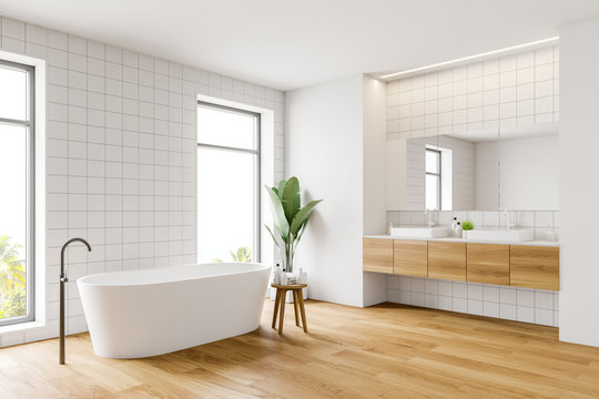 White bathroom corner, tub and sink