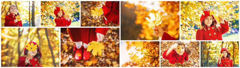 Collage and autumn children's photos. Selective focus.
