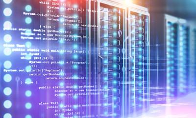 Fotobehang - Server room and lines of code