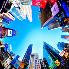 New York, USA; circa Sept 2013: Famous Times Square vertical fisheye lens view and its skyscrapers  in New York