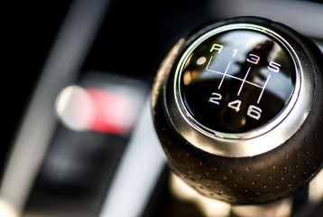 Selective focus six speed gear shift in truck car . Gear transmission.copy space