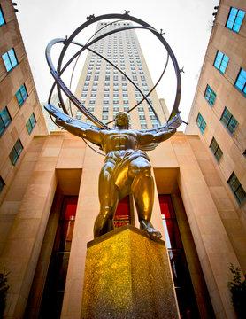 The New York, USA; circa April 2011: Atlas statue outside the Rockefeller building on 5th Avenue