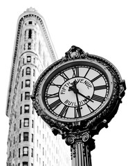 New York, USA; circa May 2012: Iconic 5th Avenue street Clock and Flat Iron Building