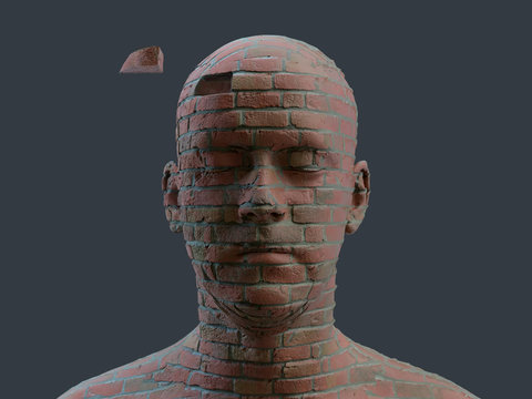 head of a man made of brick
