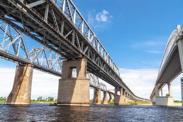 Railroad and road bridges over the Vilga river