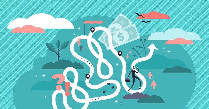 Life journey vector illustration. Flat tiny symbolic person destiny concept