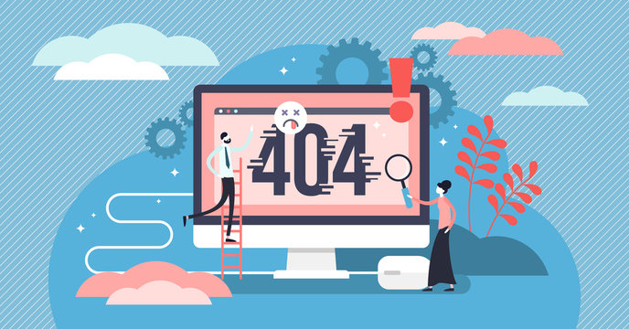 Error 404 vector illustration. Flat tiny website mistake persons concept.