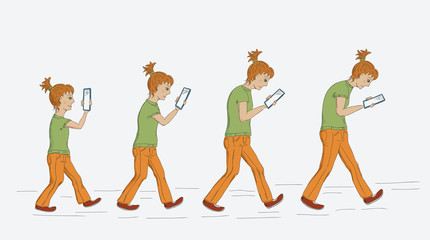 cute girl growing up looking at mobile device screen - growing a bad posture