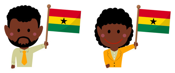 Cartoon business person of various races with national flags / Ghana .Flat vector illustration.
