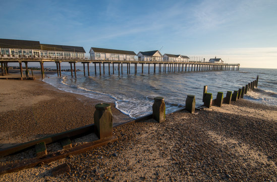 Early morning sunrise at Southwold Pier, Suffolk in January 2018