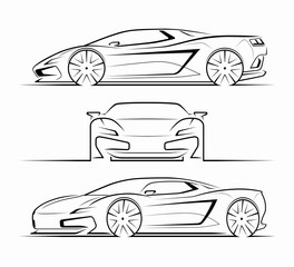 Sports car silhouettes, outlines, contours. Front, side, perspective view of supercar. Can be used as a part of an emblem, label, icon, logo. Vector illustration