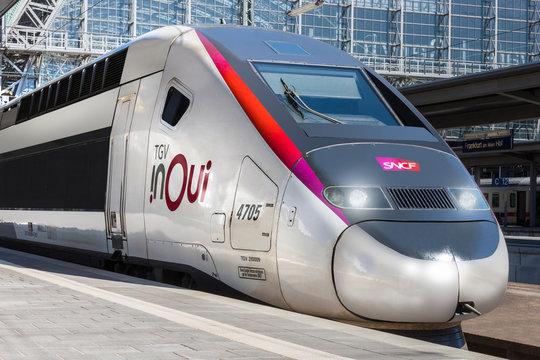 frankfurt am main, hesse/germany - 19 04 19: tgv in oui train in frankfurt am main hesse germany
