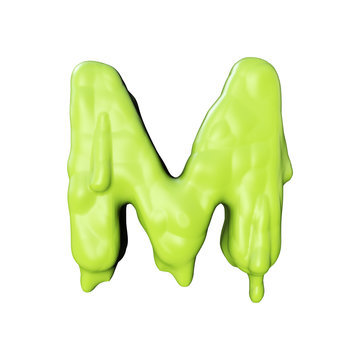 Letter M green slime oozing halloween font. 3D Rendering