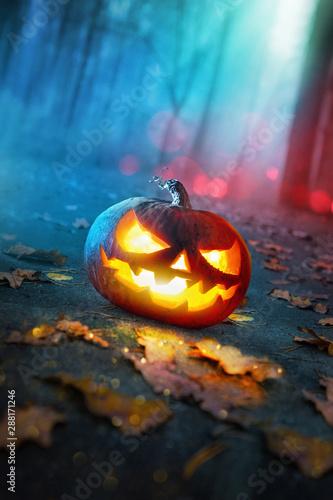 Halloween Pumpkins Glowing In Fantasy Night Forest