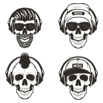 Music skull front view set, vector hand drawn illustration
