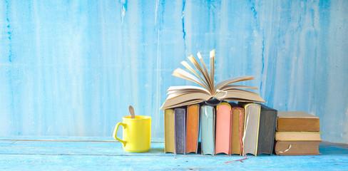 Open Book and row of multicolored hardback books, reading education, literature,book fair concept....