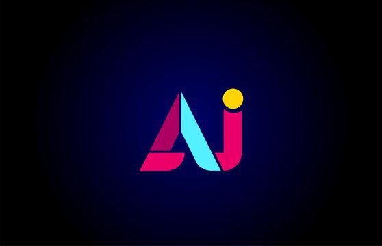 pink blue alphabet letter AJ A J combination for company logo