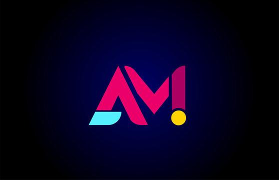 pink blue alphabet letter AM A M combination for company logo