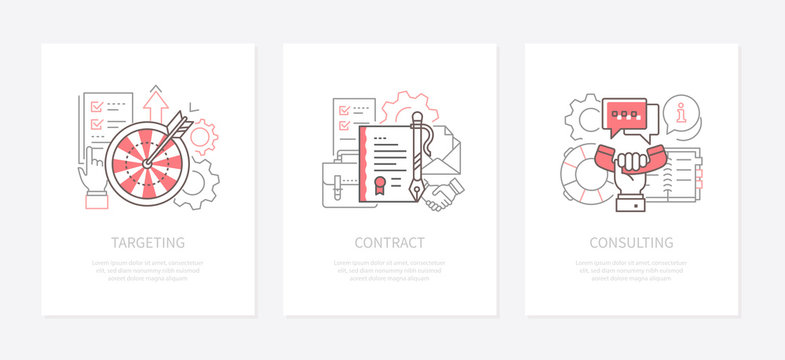 Business strategy - line design style icons set