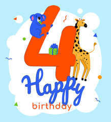 Children 4th birthday greeting card vector template