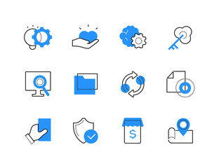 Modern online technology color line icons set