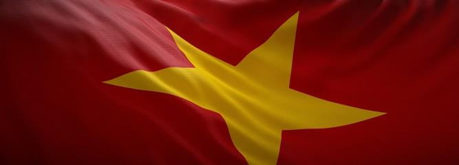 Recess Fitting Magenta Official flag of Vietnam. Web Banner.