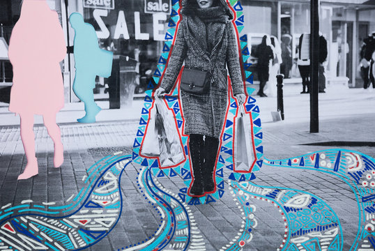 Woman shopping with patterned drawings.