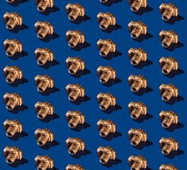Golden SLR Camera Pattern on Blue