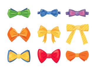 Fashion tie bow accessories cartoon with tied ribbons set