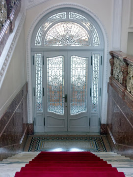 Carved glass entrance doors to Villa Maraini Swiss Institute, Rome, 2019.