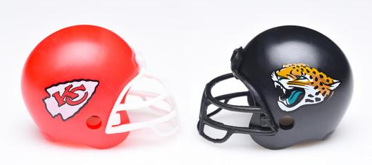 IRVINE, CALIFORNIA - SEPTEMBER 6, 2019: Football helmets of the Kansas City Chiefs vs Jacksonville Jaguars, Week One opponents in the NFL 2019 Season