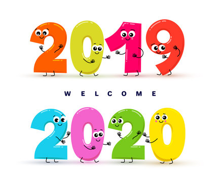 Welcome 2020. New Year. Funny numbers for children path to New Year 2020. Creative Idea. Vector illustration. Isolated on white background.