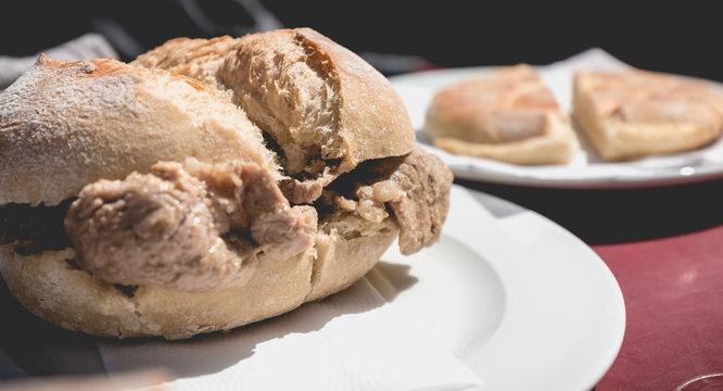 view of traditional portuguese pork beef sandwich bifana