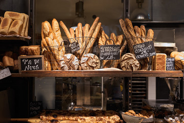 Bread family exposition in a bakery