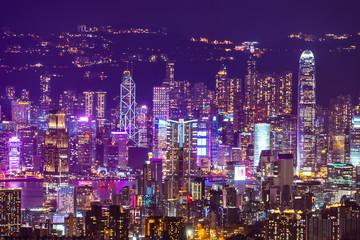Hong Kong, China - August, 2019 :  Hong Kong cityscape at night, sky scraper building Wall mural