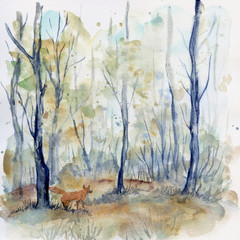 Watercolor forest landscape with fox