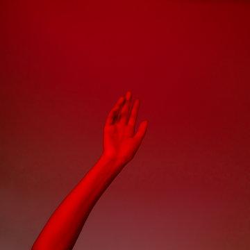 conceptual photo, elegant female hand in red light