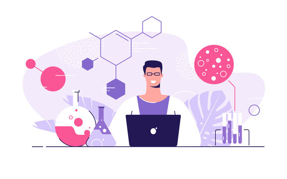 Vector flat style illustration of a young scientist with laptop in a medical, research, chemical lab