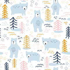 Seamless pattern bears in forest hand drawn vector illustration. Scandinavian style repeating animal nature background in blue, yellow, orange, pink on white. For wallpaper, fabric, kids decor, baby