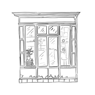 Informational poster sketch front store, cartoon.